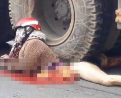 【グロ注意】大型トラックの横でセクシーに寝そべる女性 → 内臓出とる・・・ 動画