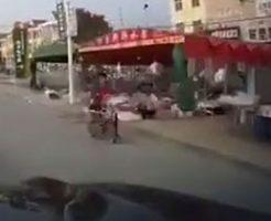開始3秒の出来事…猛スピードで走る車に吹っ飛ばされる女性