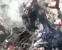 身体を燃やされ真っ黒になった男のペニスが食われるカニバリズム映像